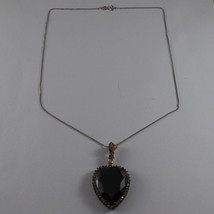 .925 SILVER RHODIUM NECKLACE WITH BURNISHED HEART OF BROWN AND YELLOW CRYSTALS image 2