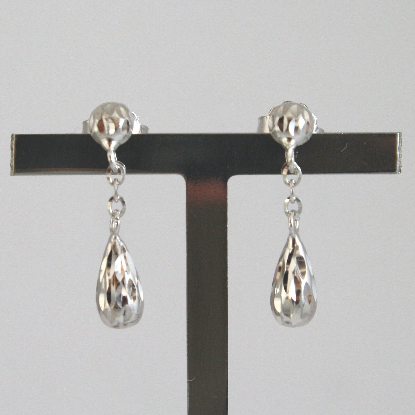 18K SOLID WHITE GOLD EARRINGS WITH HAMMER DROPS LENGTH 0,83 IN MADE IN ITALY 18K