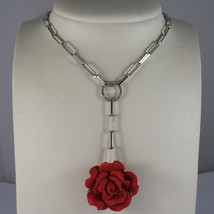.925 RHODIUM SILVER NECKLACE, OVAL MESH WITH RED RESIN ROSE