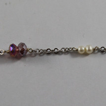 .925 SILVER RHODIUM NECKLACE WITH PURPLE CRYSTALS, PEARLS AND DROP OF ZIRCONIA image 4