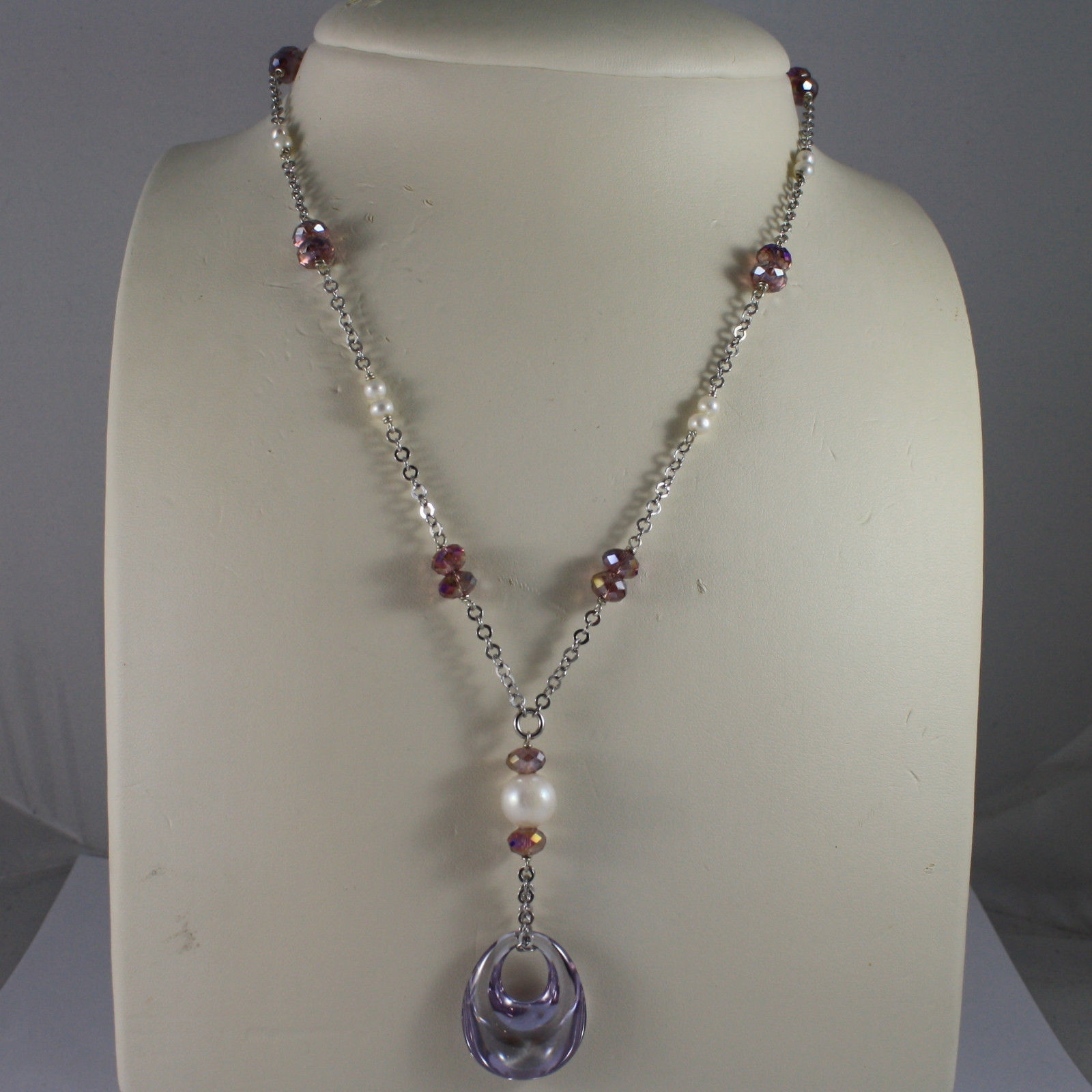 .925 SILVER RHODIUM NECKLACE WITH PURPLE CRYSTALS, PEARLS AND DROP OF ZIRCONIA
