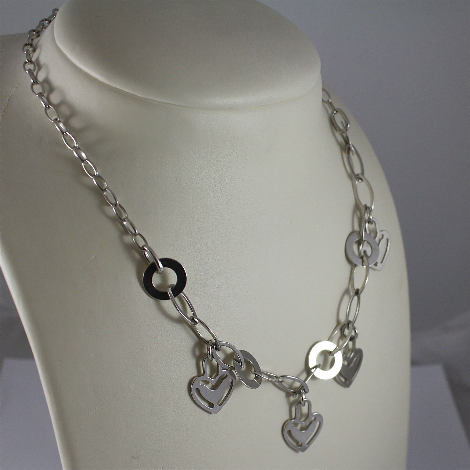 .925 RHODIUM SILVER NECKLACE, FOUR HEARTS PENDANTS, OVAL MESH.