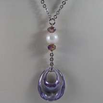 .925 SILVER RHODIUM NECKLACE WITH PURPLE CRYSTALS, PEARLS AND DROP OF ZIRCONIA image 3