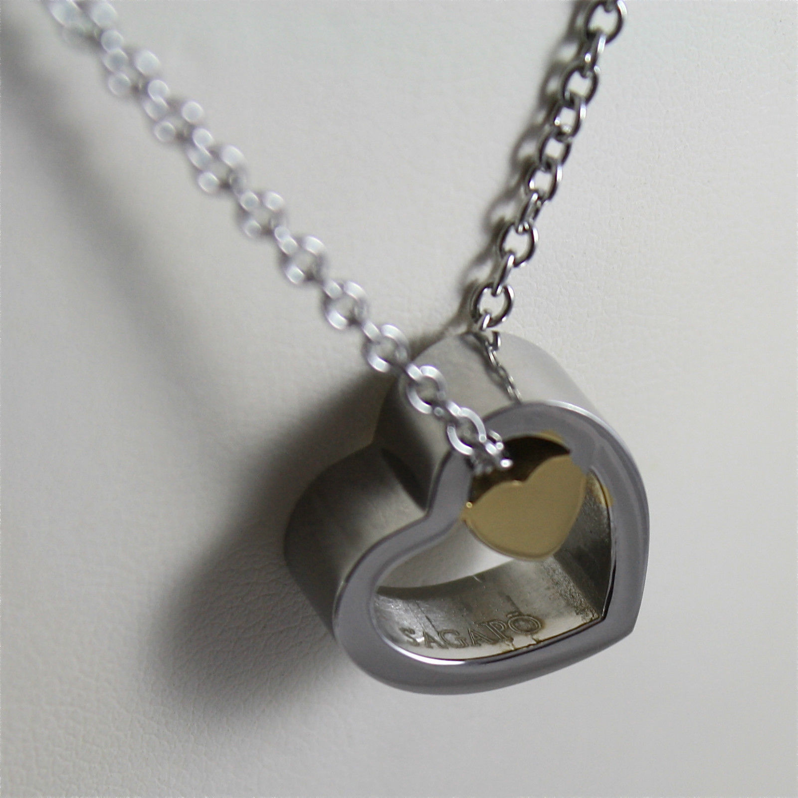 S'AGAPO' NECKLACE, 316L STEEL, PLATED LITTLE HEART IN BIG HEART.
