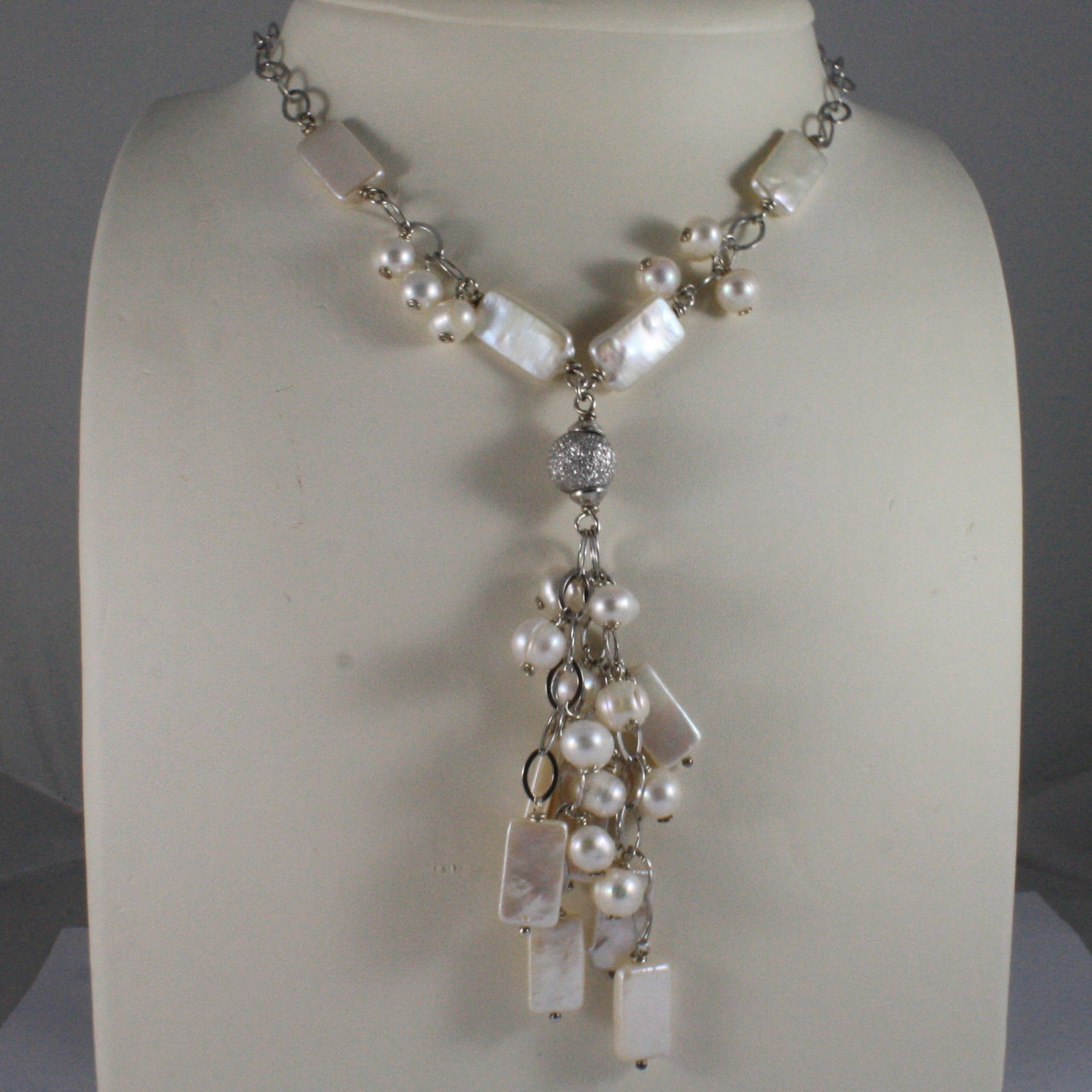 .925 SILVER RHODIUM NECKLACE WITH RECTANGULAR AND ROUND FRESHWATER WHITE PEARLS
