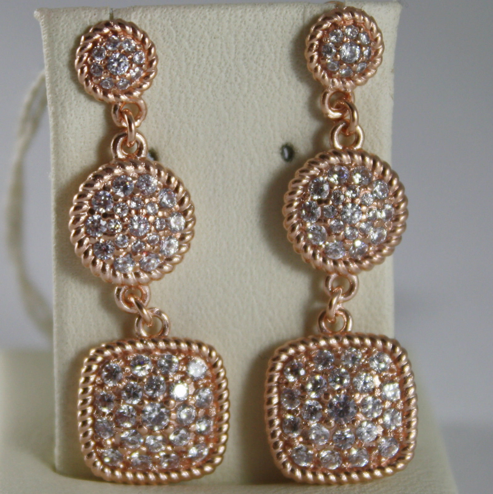 BRONZE EARRINGS SQUARE & CUBIC ZIRCONIA B14ORB19, ROSE, BY REBECCA MADE IN ITALY