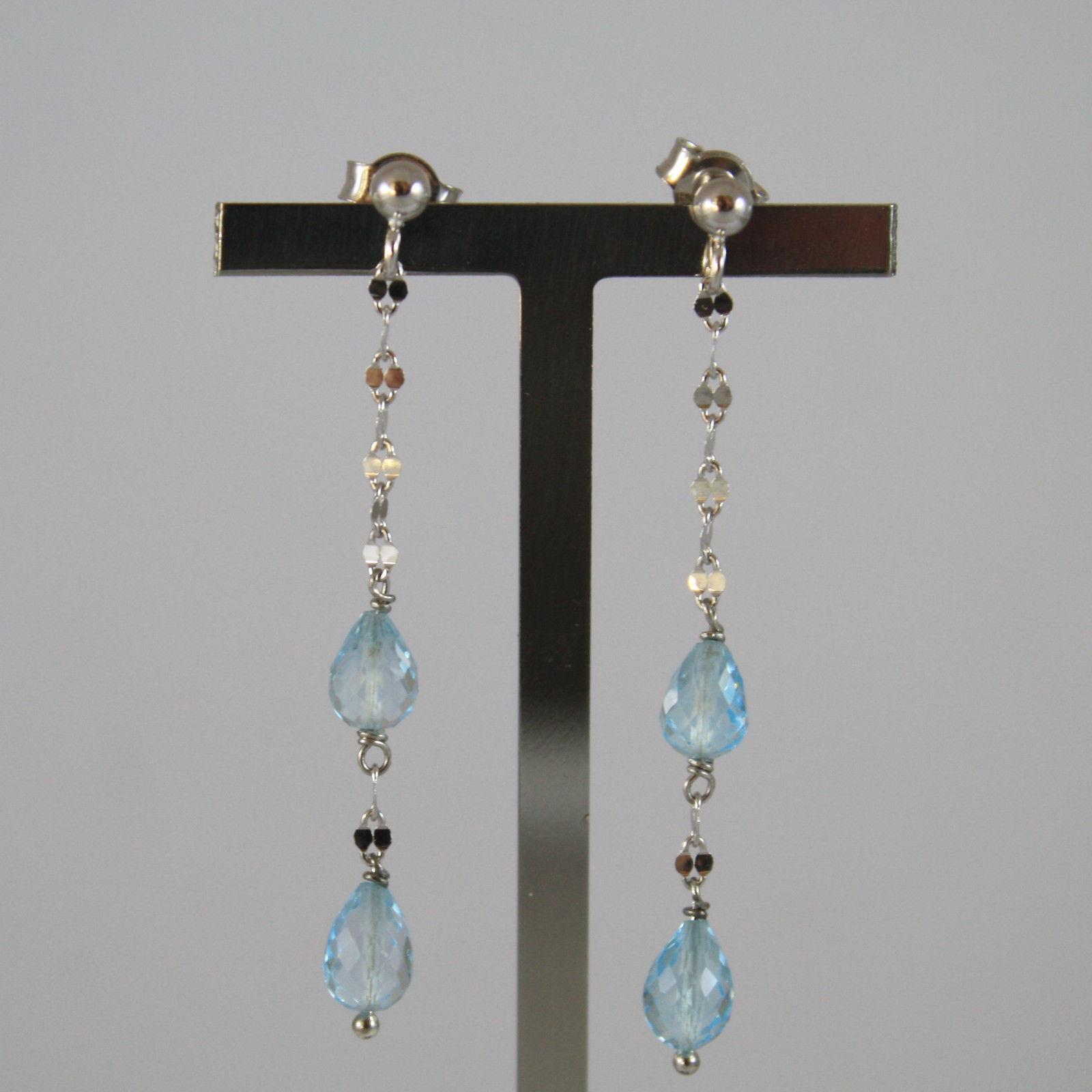 SOLID 18K WHITE GOLD EARRINGS, WITH DROP OF BLUE TOPAZ LENGTH 1.85 INCHES