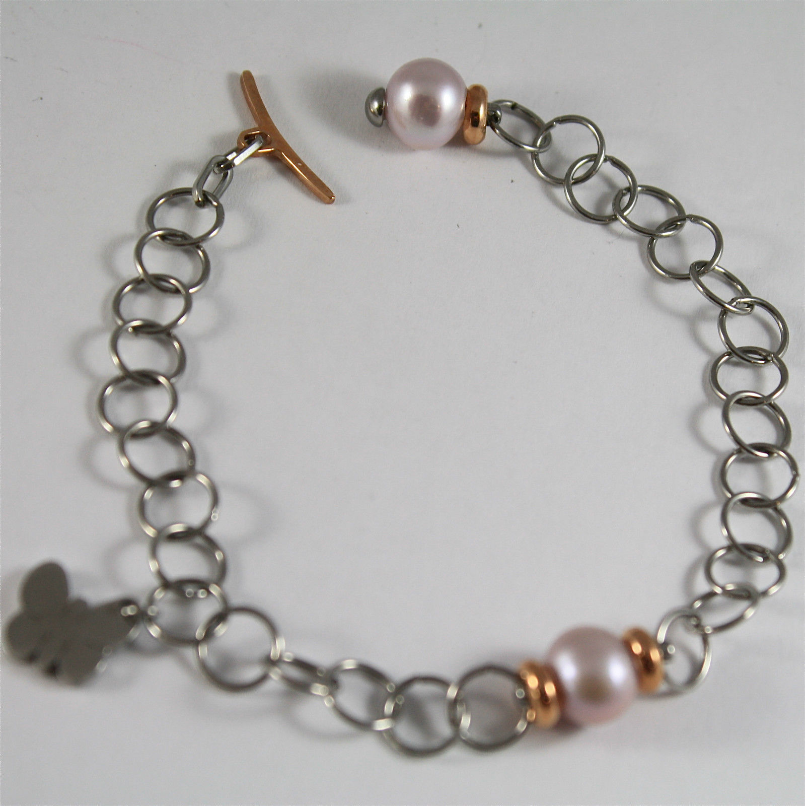 RHODIUM-PLATED BRONZE BRACELET WITH CHARMS AND PEARL BY REBECCA MADE IN ITALY