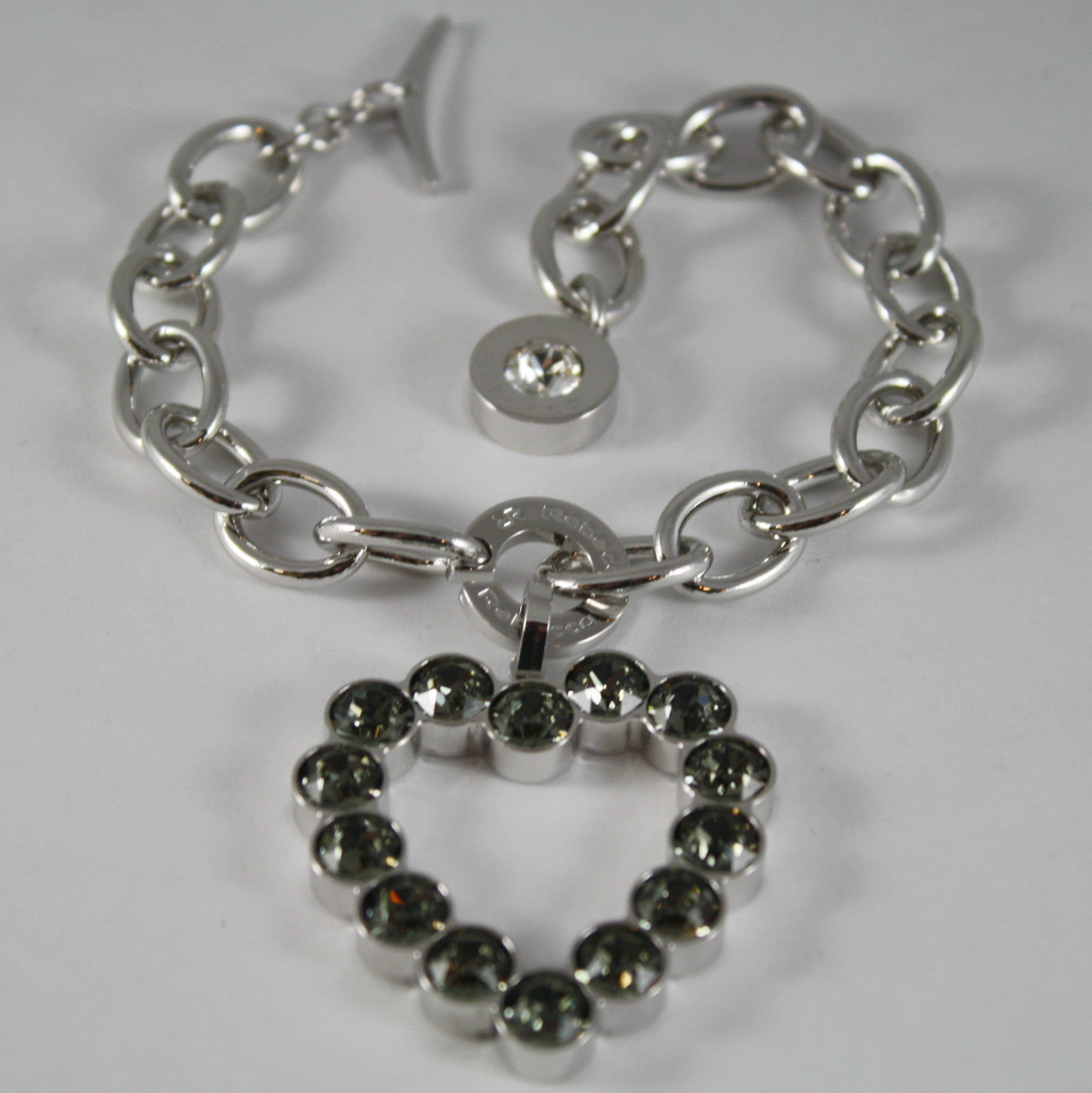 RHODIUM BRONZE REBECCA BRACELET BIG HEART WITH GRAY CRYSTAL CT 15 MADE IN ITALY
