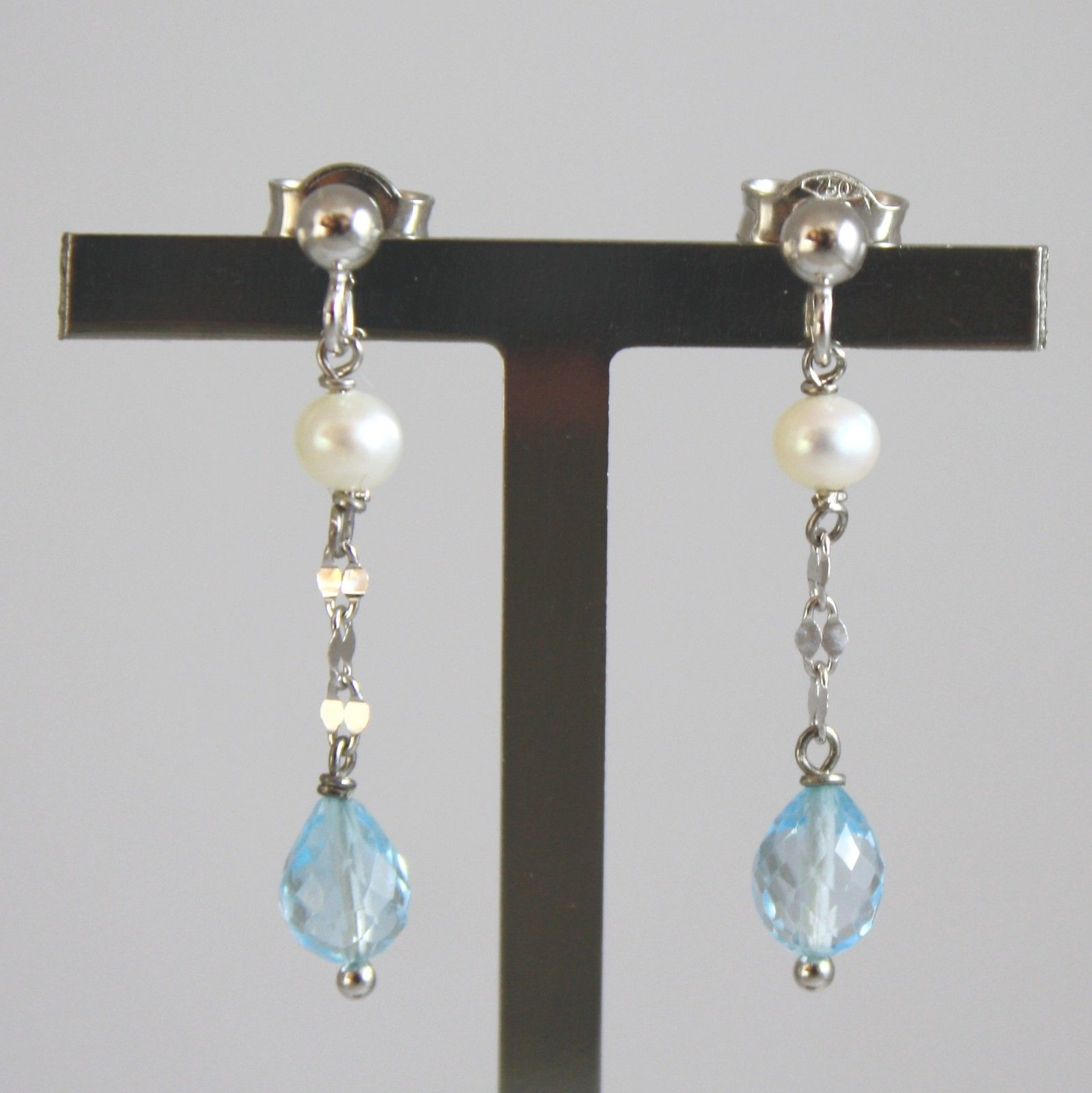 18K SOLID WHITE GOLD EARRINGS WITH DROPS OF BLUE TOPAZ AND PEARLS MADE IN ITALY