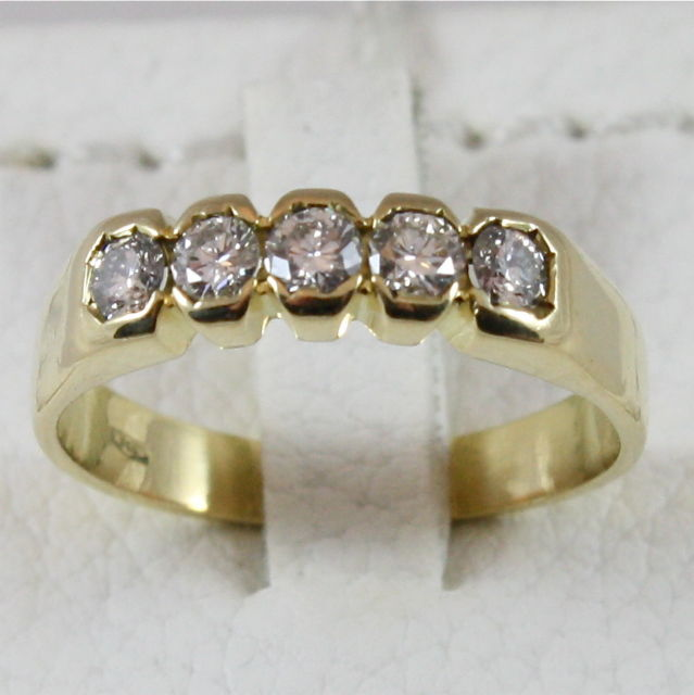 18K 750 YELLOW GOLD ETERNITY BAND RING WITH DIAMONDS, MADE IN ITALY