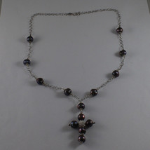 .925 SILVER RHODIUM NECKLACE WITH GRAY PEARLS AND CROSS image 2