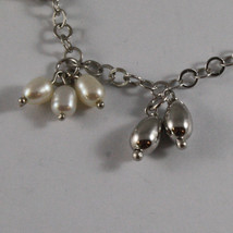 .925 SILVER RHODIUM NECKLACE WITH FRESHWATER WHITE PEARLS AND SILVER DROPS image 3