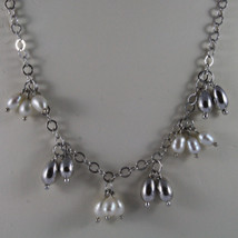 .925 SILVER RHODIUM NECKLACE WITH FRESHWATER WHITE PEARLS AND SILVER DROPS image 2