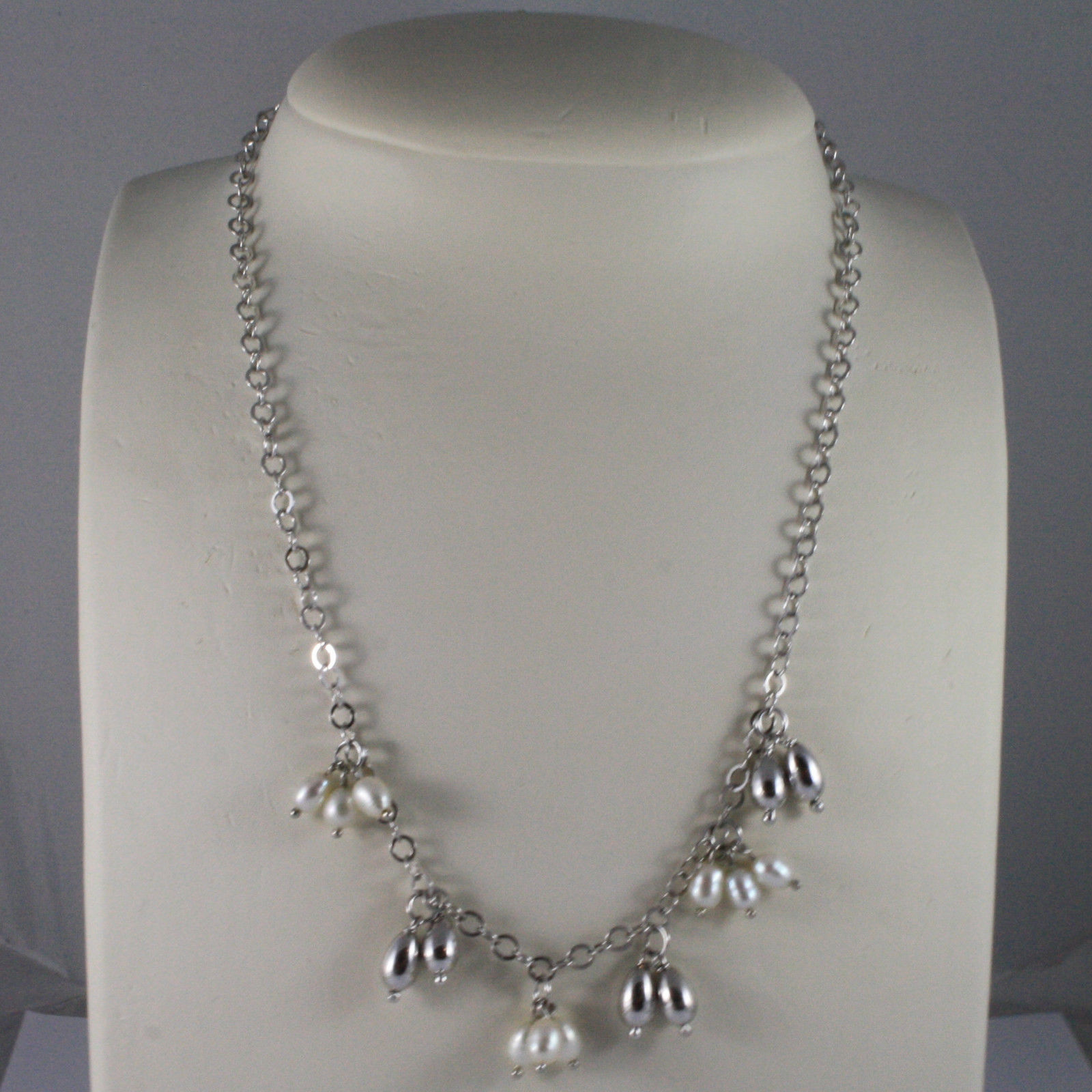 .925 SILVER RHODIUM NECKLACE WITH FRESHWATER WHITE PEARLS AND SILVER DROPS