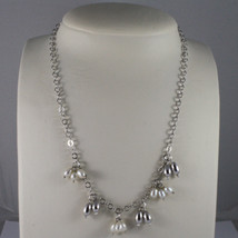 .925 SILVER RHODIUM NECKLACE WITH FRESHWATER WHITE PEARLS AND SILVER DROPS image 1