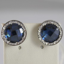 RHODIUM BRONZE EARRINGS, BLUE QUARTZ B14OBI47, BY REBECCA MADE IN ITALY