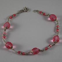 .925 Rhodium Silver Bracelet With Fuchsia Crystals - $45.60