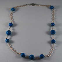 .925 RHODIUM NECKLACE WITH TURQUOISE AND PINK CRYSTALS image 2
