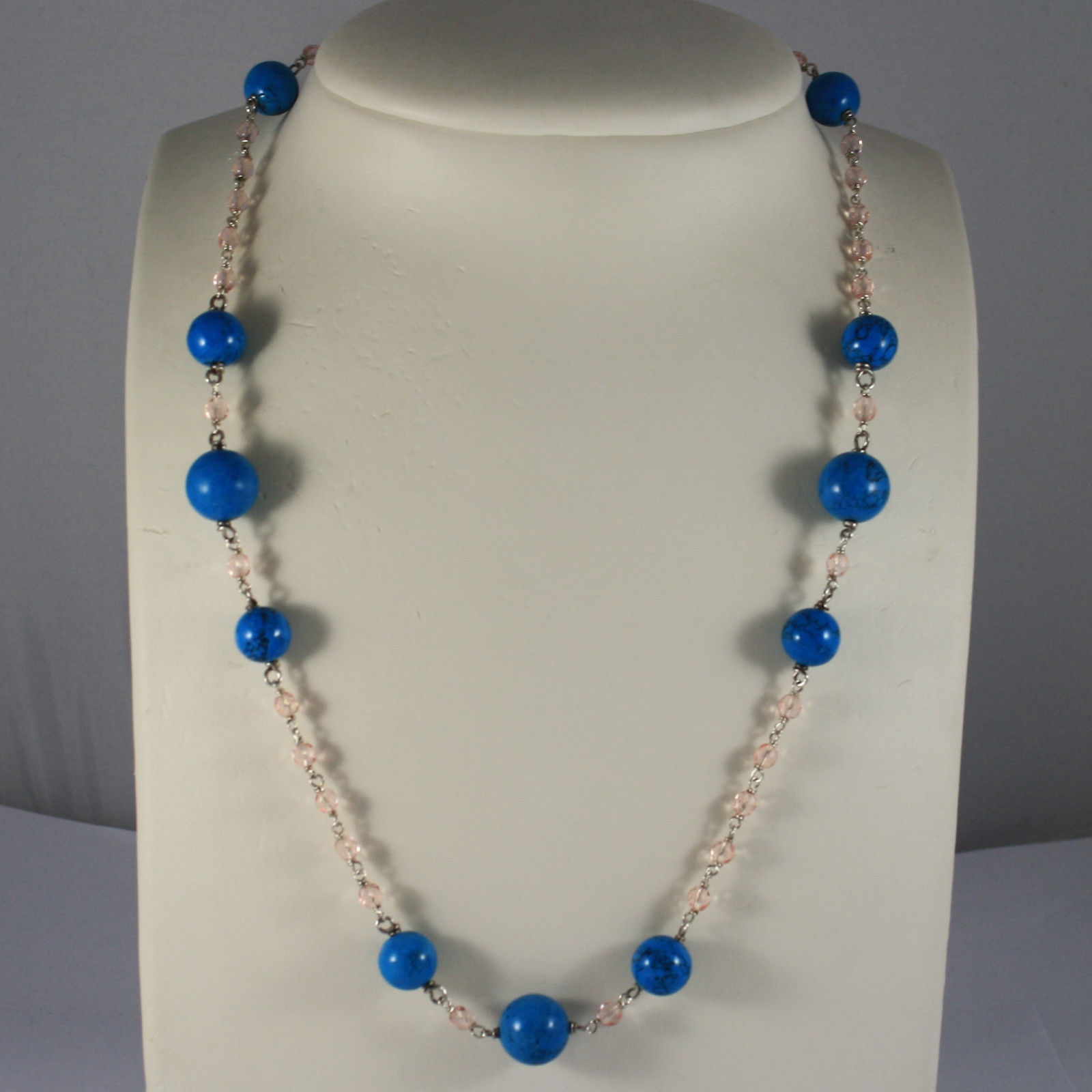 .925 RHODIUM NECKLACE WITH TURQUOISE AND PINK CRYSTALS