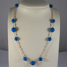 .925 RHODIUM NECKLACE WITH TURQUOISE AND PINK CRYSTALS - $114.95