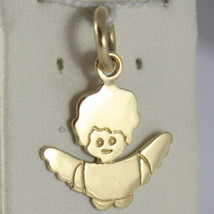 Solid 18 K Yellow Gold Pendant, Guardian Angel, Engraving Overleaf, Made In Italy - $152.95