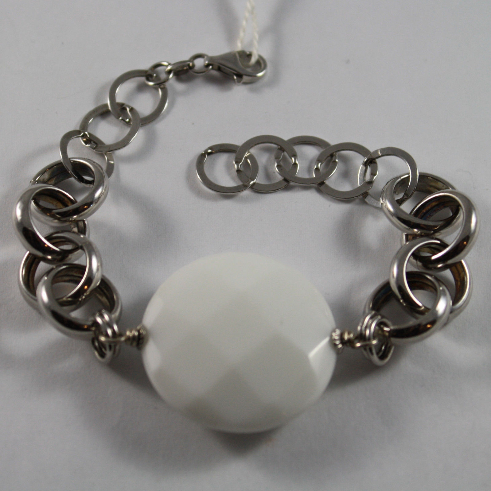 .925 RHODIUM SILVER BRACELET WITH WHITE AGATE FACETED