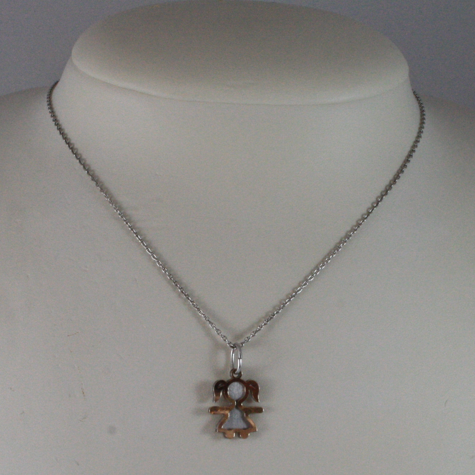 .925 SILVER RHODIUM NECKLACE WITH SATIN AND ROSE GOLD PLATED DOUBLE GIRL PENDANT