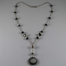 .925 RHODIUM SILVER NECKLACE WITH DISC OF MOTHER OF PEARL AND BLACK CRYSTALS image 2