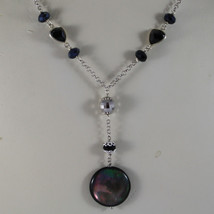 .925 RHODIUM SILVER NECKLACE WITH DISC OF MOTHER OF PEARL AND BLACK CRYSTALS image 3