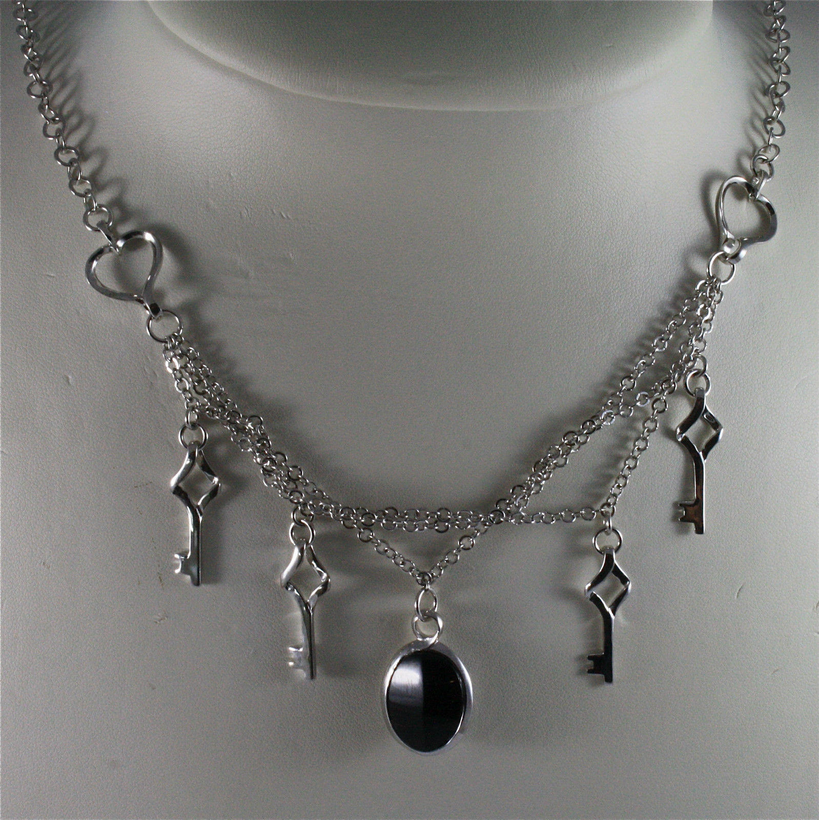 .925 SILVER RHODIUM NECKLACE, 17,72 In, MIXED CHAINS, SMOKING QUARTZ PENDANT.