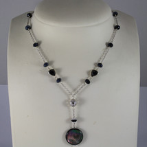 .925 RHODIUM SILVER NECKLACE WITH DISC OF MOTHER OF PEARL AND BLACK CRYS... - $137.75