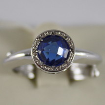 RHODIUM BRONZE RING WITH ROUND BLUE QUARTZ B14ABI21 BY REBECCA, MADE IN ITALY