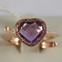 ROSE BRONZE RING WITH HEART PURPLE QUARTZ B14ARA24 BY REBECCA, MADE IN ITALY