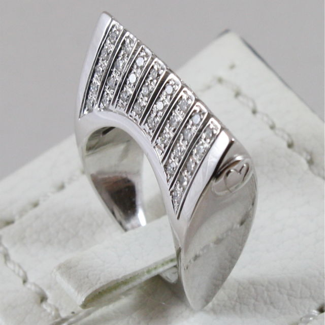 18K 750 WHITE GOLD RING WITH DIAMONDS, MADE IN ITALY
