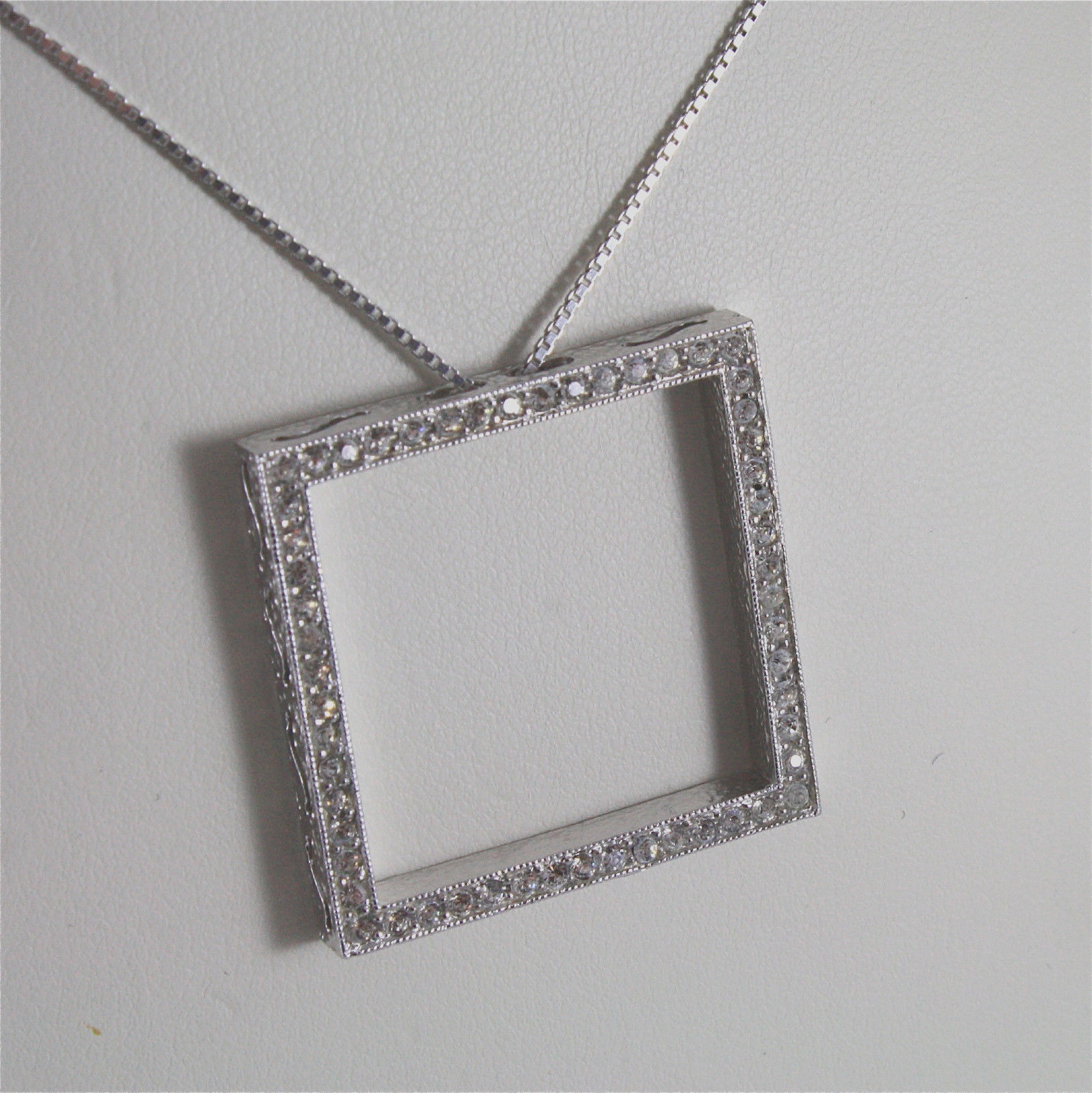 .925 RHODIUM SILVER NECKLACE, SQUARE SHAPED, FACETED ZIRCONIA