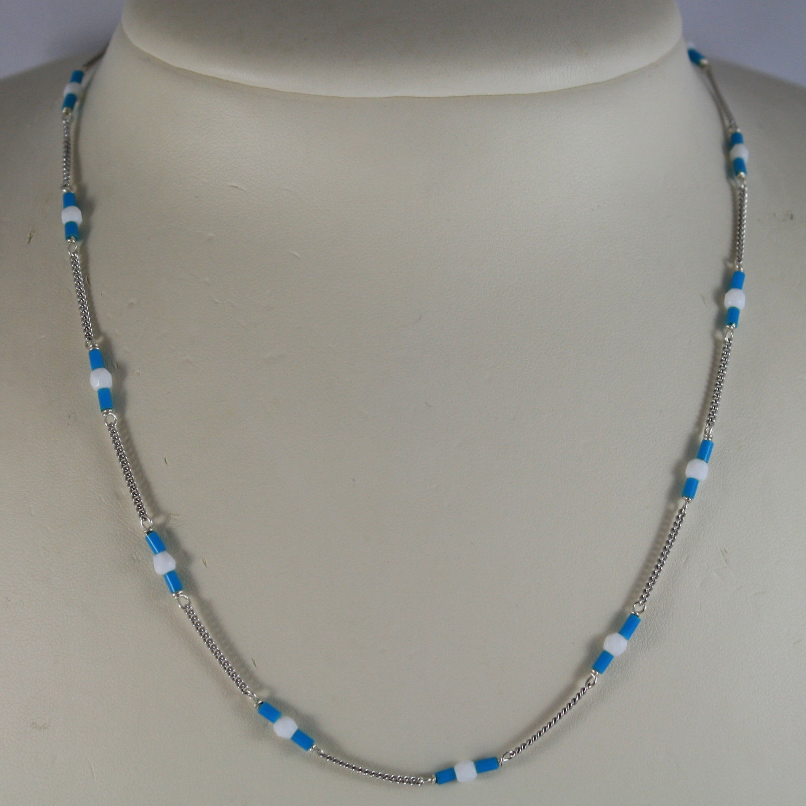 .925 RHODIUM SILVER NECKLACE WITH TUBE OF TURQUOISE AND WHITE AGATE