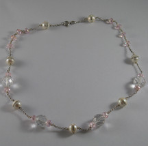 .925 RHODIUM SILVER NECKLACE WITH WHITE PEARLS WITH ZIRCONIA AND PINK CRISTALS image 2