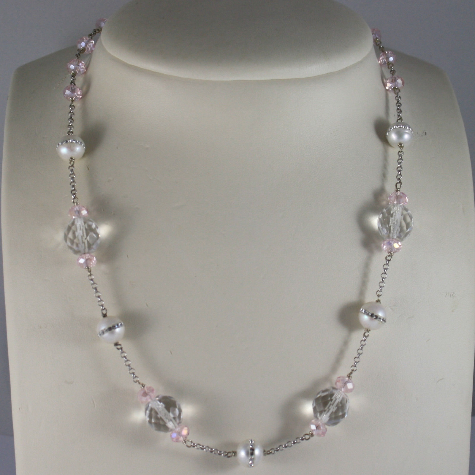 .925 RHODIUM SILVER NECKLACE WITH WHITE PEARLS WITH ZIRCONIA AND PINK CRISTALS