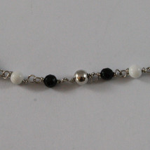 .925 SILVER RHODIUM NECKLACE WITH BLACK ONYX, WHITE AGATE AND SILVER SPHERES image 3
