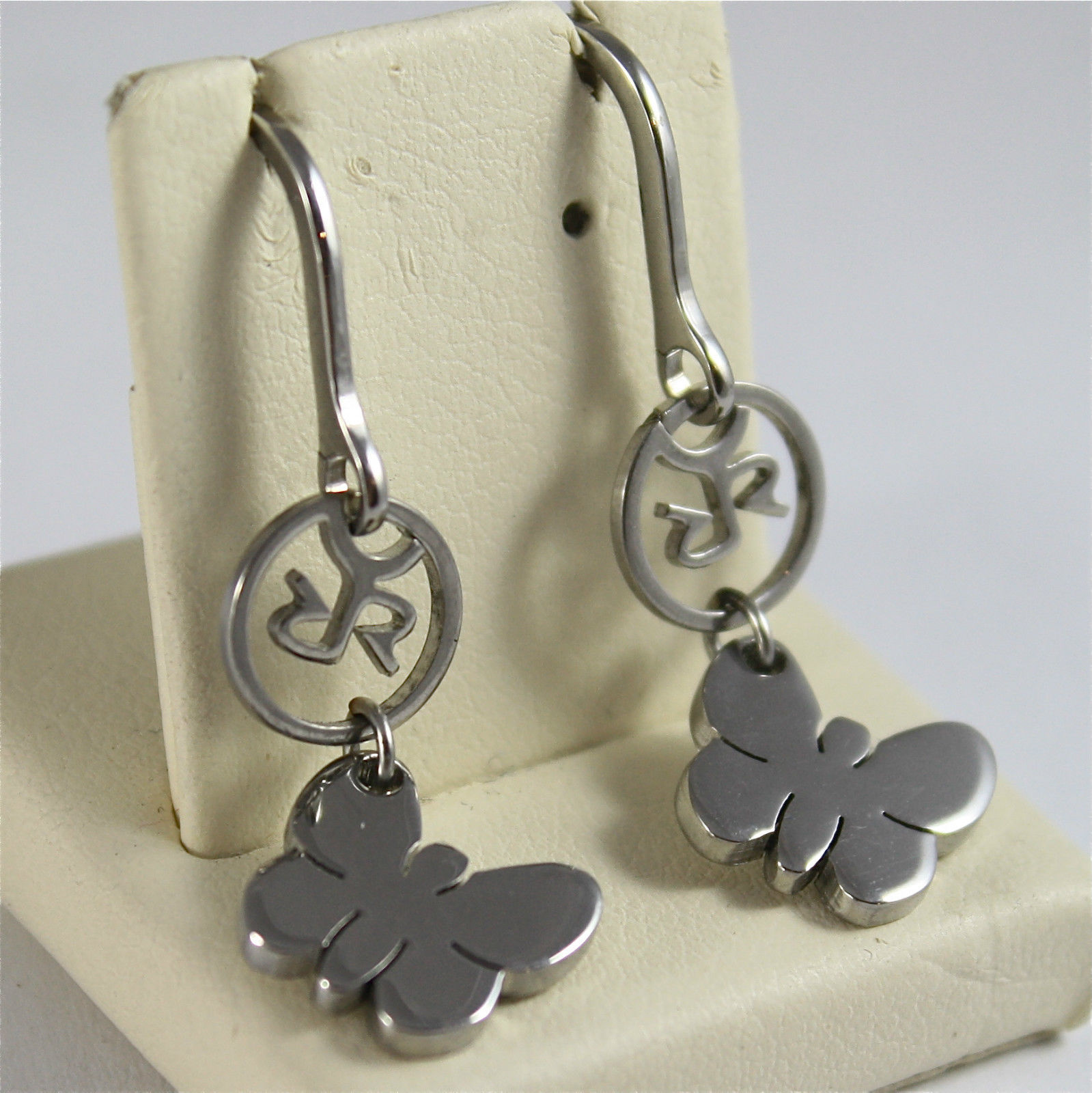 RHODIUM-PLATED BRONZE EARRINGS WITH PENDANT BY REBECCA MADE IN ITALY