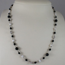 .925 SILVER RHODIUM NECKLACE WITH BLACK ONYX, WHITE AGATE AND SILVER SPHERES image 1