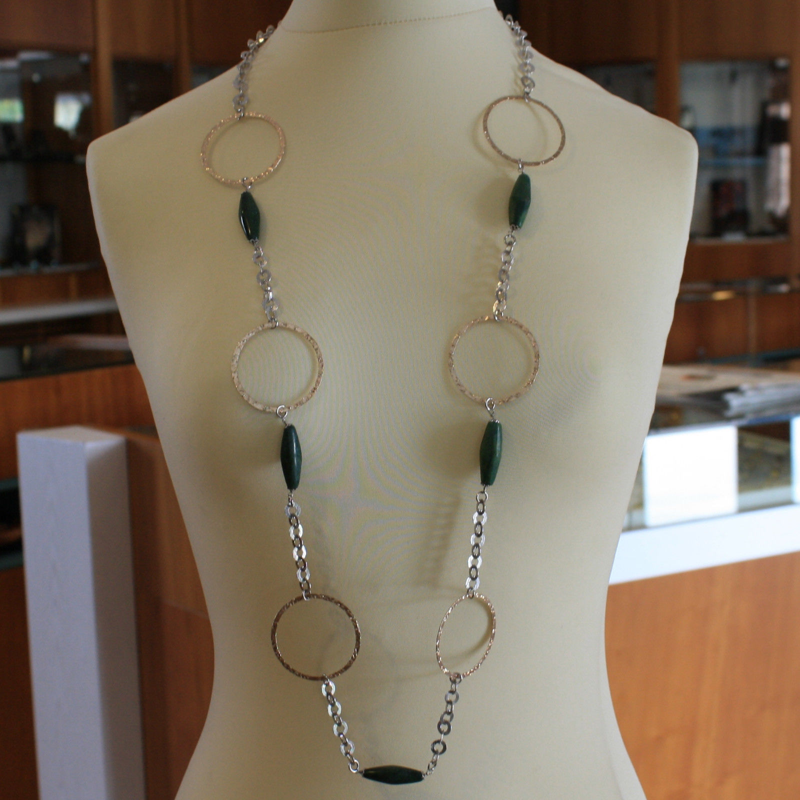 .925 SILVER RHODIUM NECKLACE WITH GOLDEN CIRCLES AND GREEN JASPER