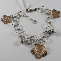 .925 RHODIUM SILVER BRACELET WITH SPHERE AND ROSE PLATED FLOWERS image 1