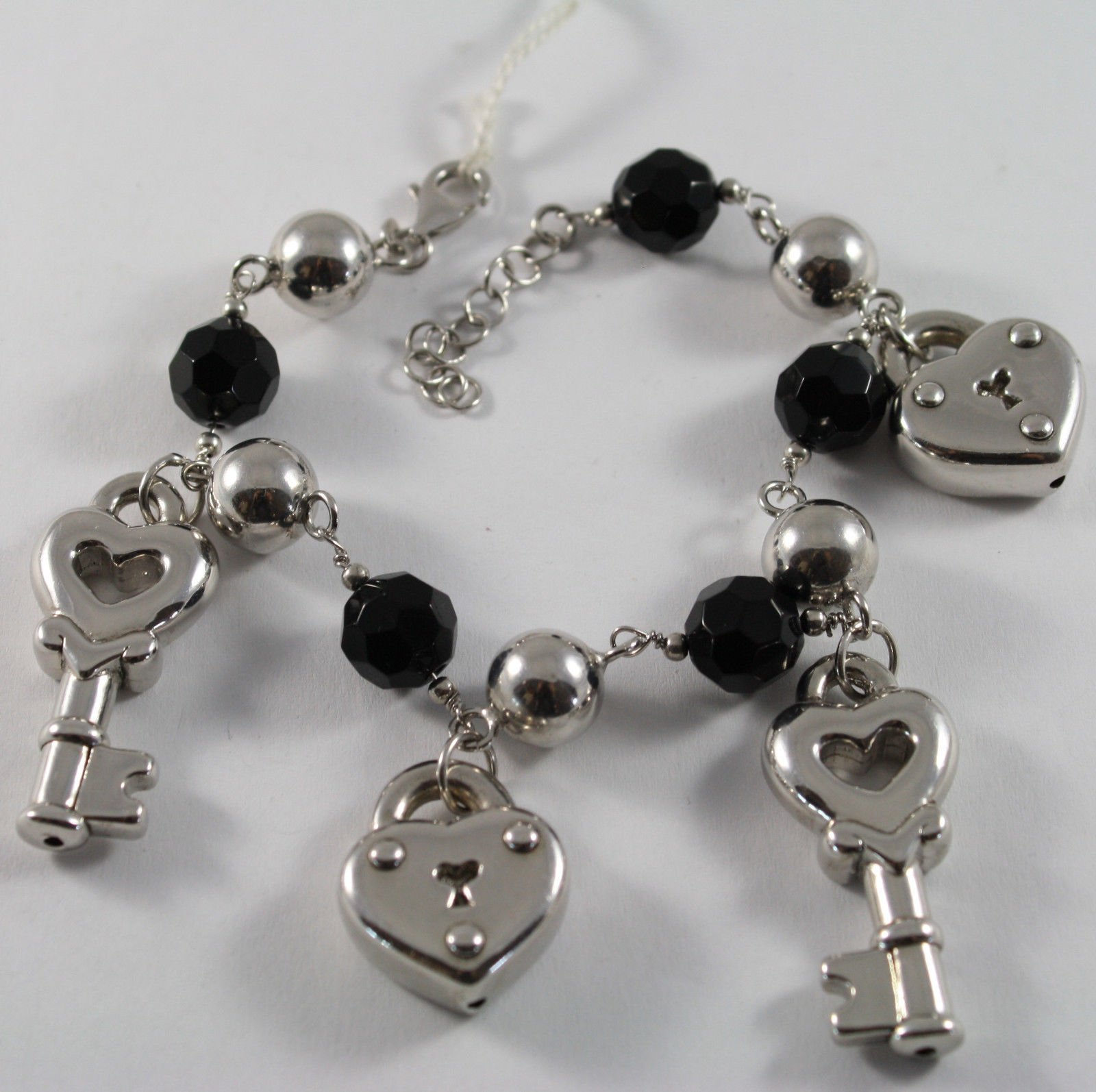 .925 RHODIUM SILVER BRACELET WITH BLACK ONYX AND CHARM HEART AND KEY