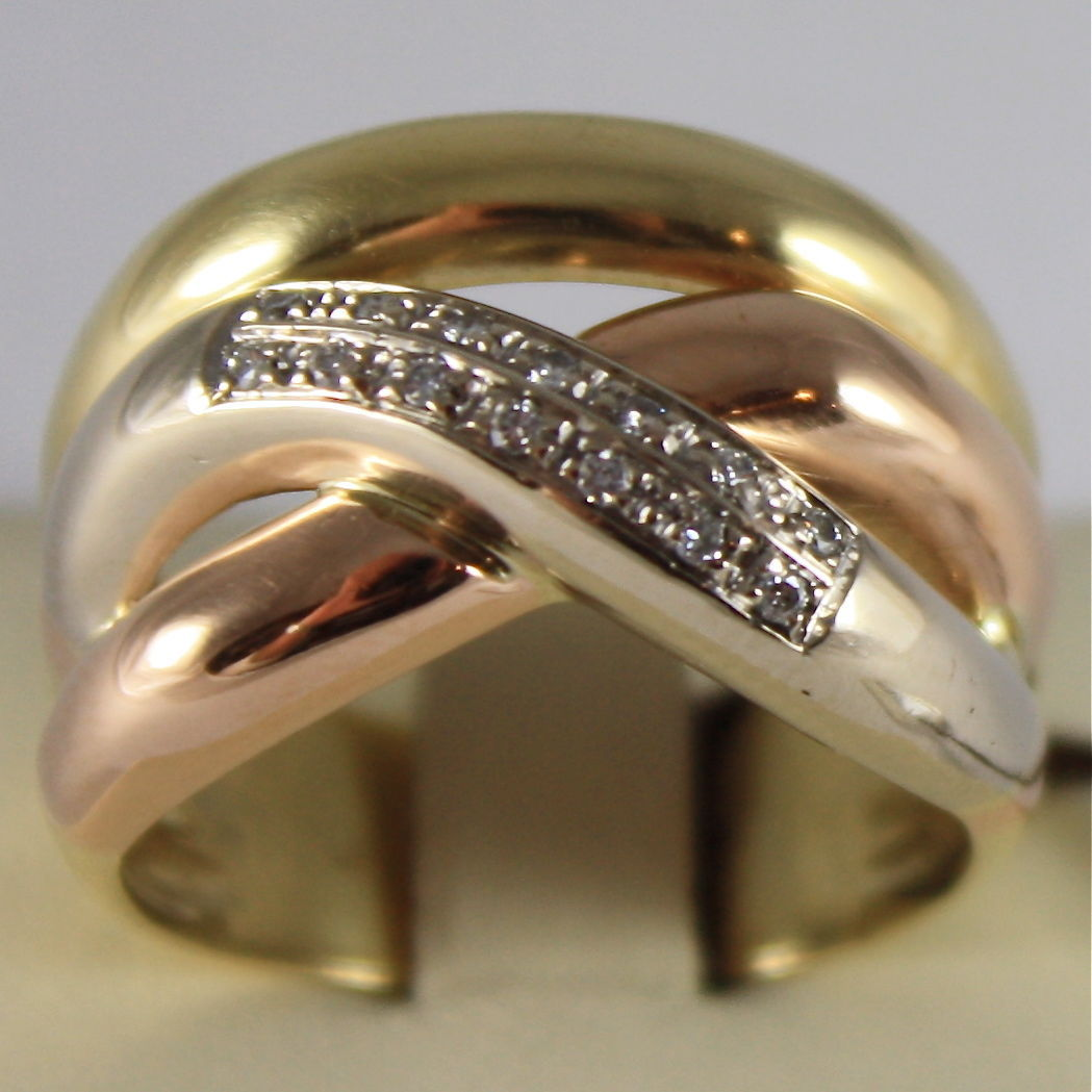 18K WHITE YELLOW AND ROSE GOLD 750 RING MADE IN ITALY, THREE WIRES, WAVE DIAMOND