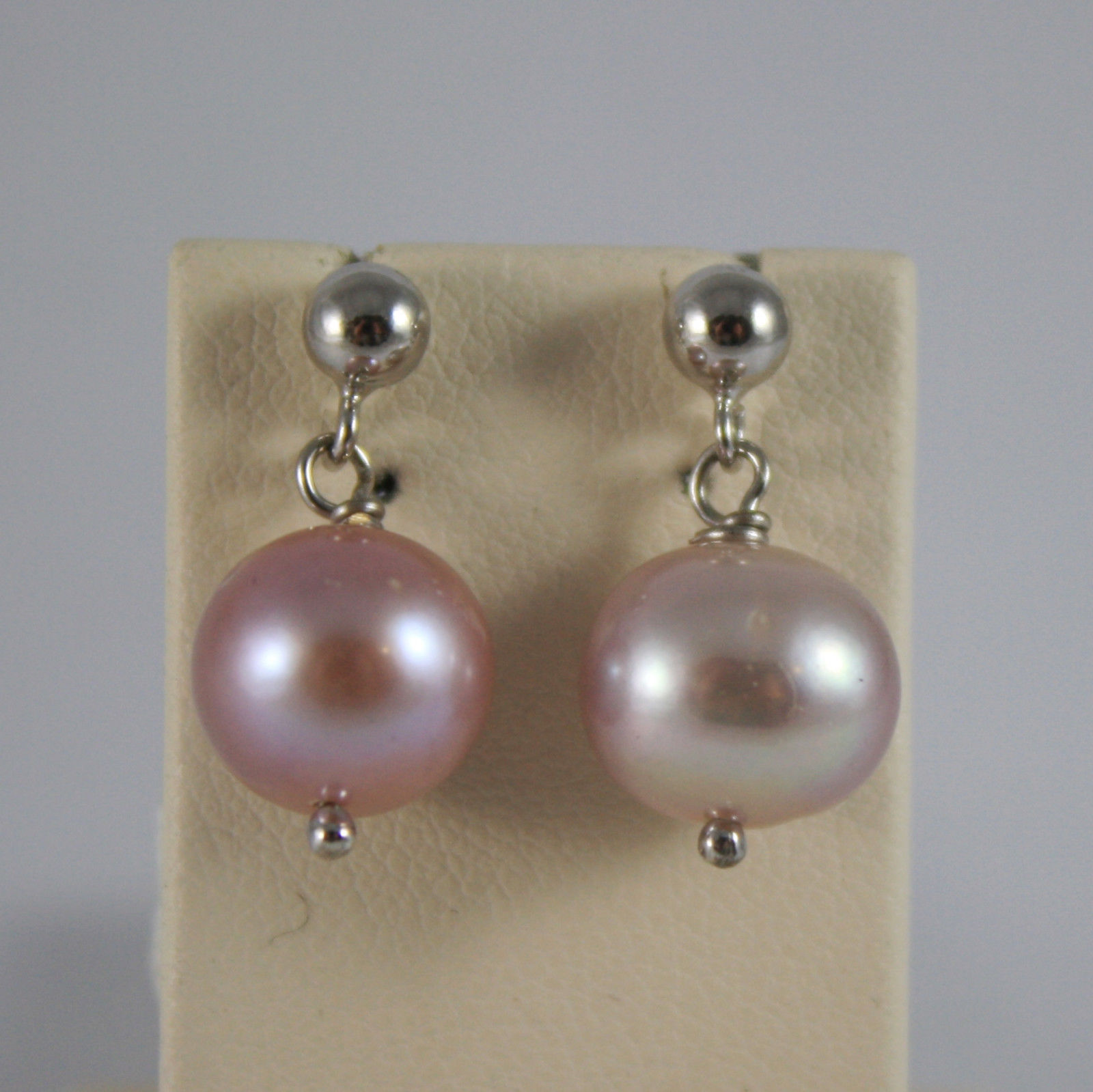 SOLID 18K WHITE GOLD EARRINGS, WITH FRESHWATER ROSE PEARLS, MADE IN ITALY