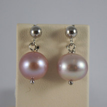 SOLID 18K WHITE GOLD EARRINGS, WITH FRESHWATER ROSE PEARLS, MADE IN ITALY image 1