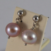 SOLID 18K WHITE GOLD EARRINGS, WITH FRESHWATER ROSE PEARLS, MADE IN ITALY image 2