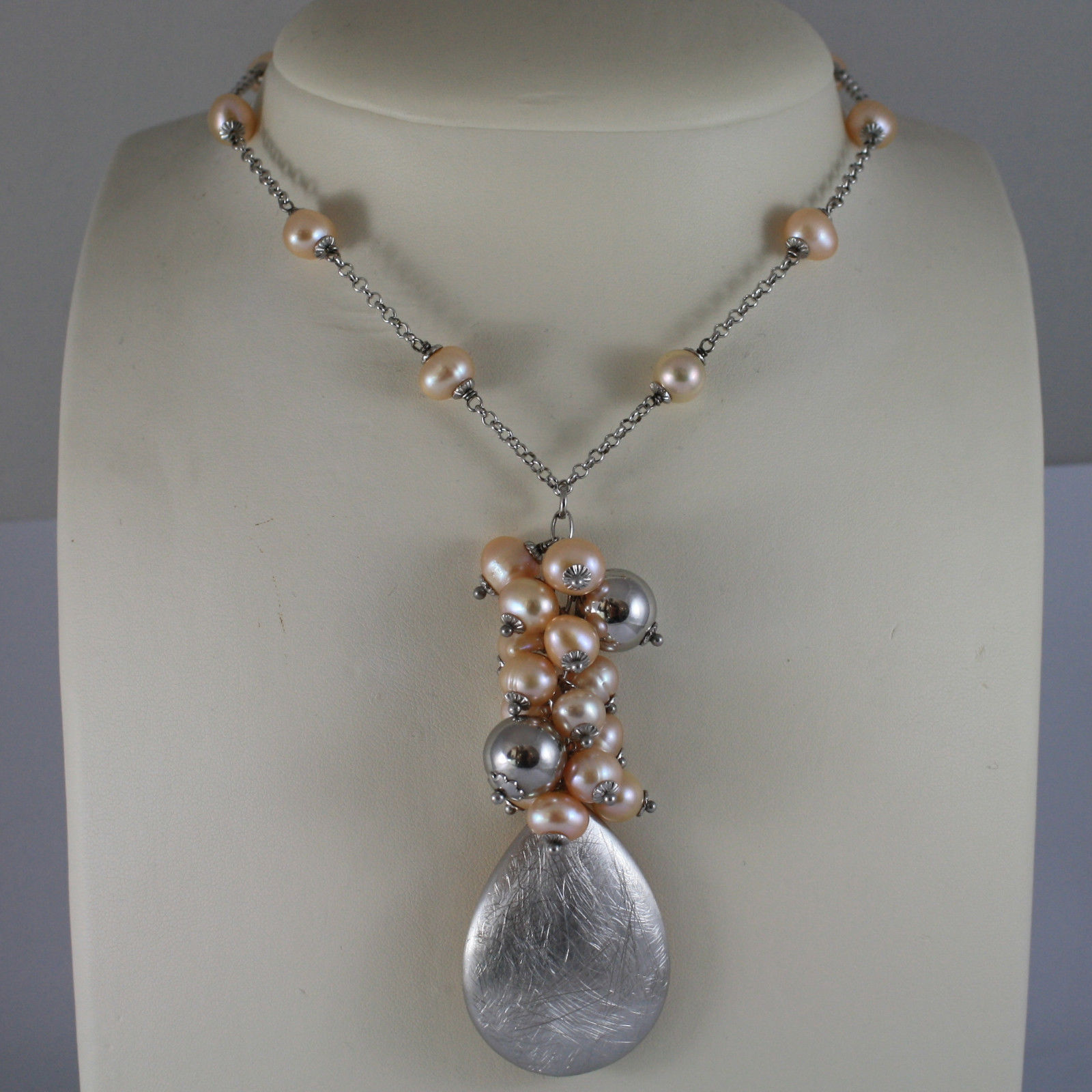 .925 RHODIUM SILVER NECKLACE WITH FW ROSE PEARLS AND DROP SILVER AND ROSE PLATED